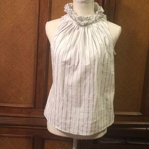 The Limited Blue&Silver Pinstripe Ruffle High Neck